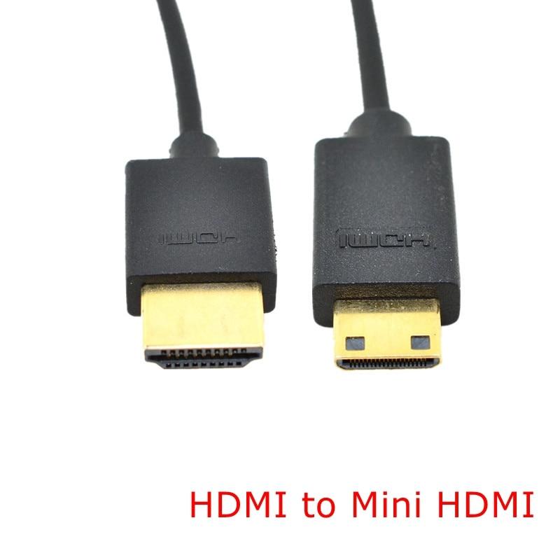 1M OD 3,0mm Super fino suave HDMI macho a Mini HDMI y HDMI Cable macho para Moto teléfono móvil Tablet 3FT ligero portátil