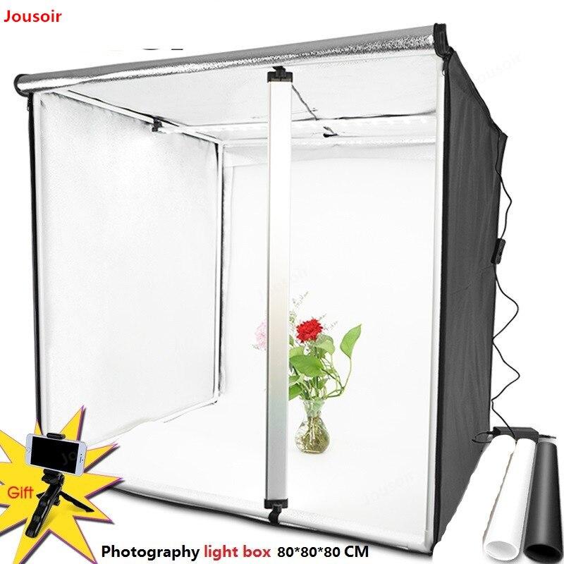 Caja de luz 80*80CM Softbox portátil foto LED Lightbox tienda con 2 colores de fondo para iluminación de estudio de fotografía caja de CD50 T03