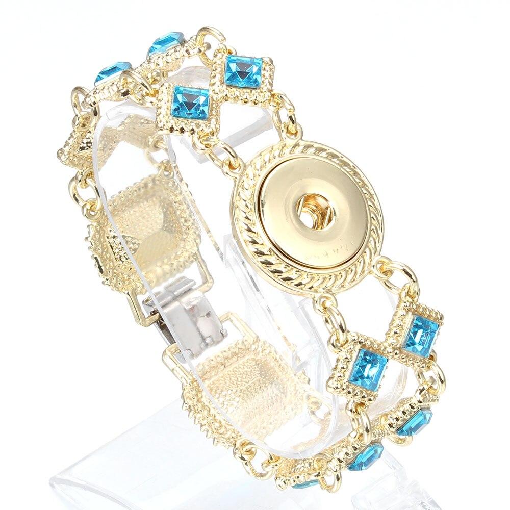 Abalorios de moda pulsera de cristal ajustable 18mm botones a presión pulseras de oro para mujeres joyería al por mayor ZE376