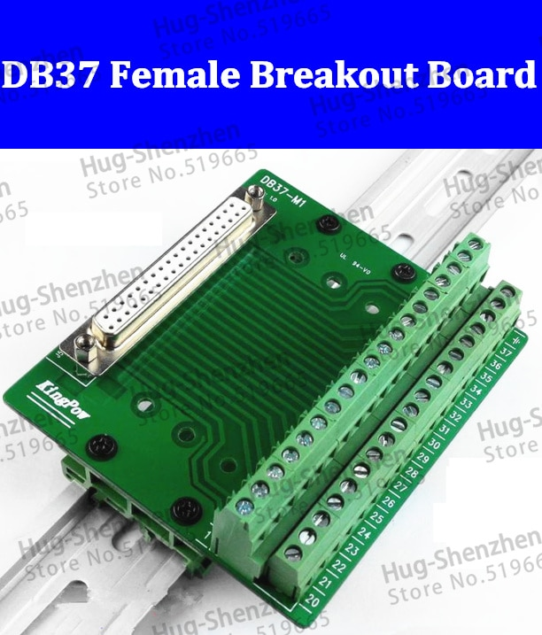 High quality 5pcs  DB37 D-Sub DIN Rail Mount Interface Module , DB37 female connector terminal Breakout Board