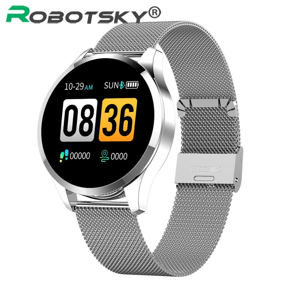 Reloj inteligente Q9, pulsera de acero a prueba de agua a la moda, rastreador de Fitness, reloj inteligente para hombre, Monitor de ritmo cardíaco deportivo Q8, actualización de reloj inteligente