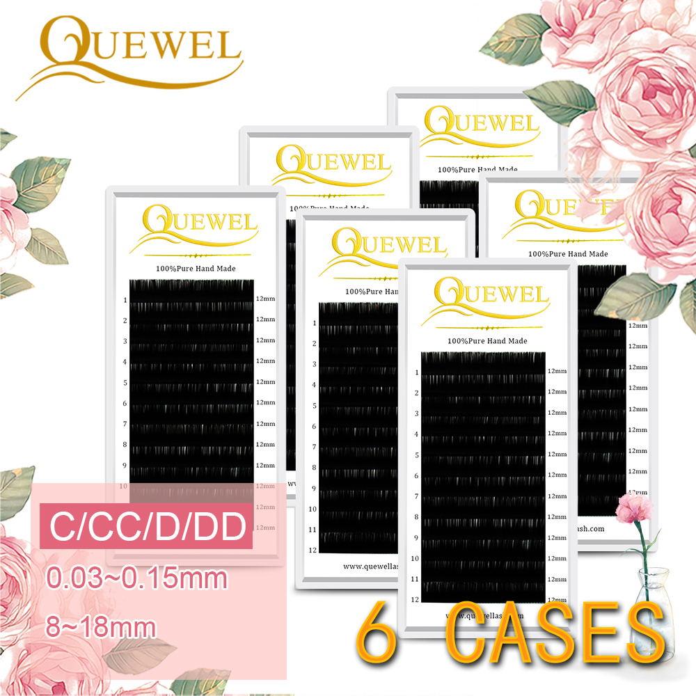 Quewel Silk Fiber Eyelashes Extension Individual False Eyelash C/CC/D/DD Curl lash Handmade High Quality 6 Trays Makeup Natural
