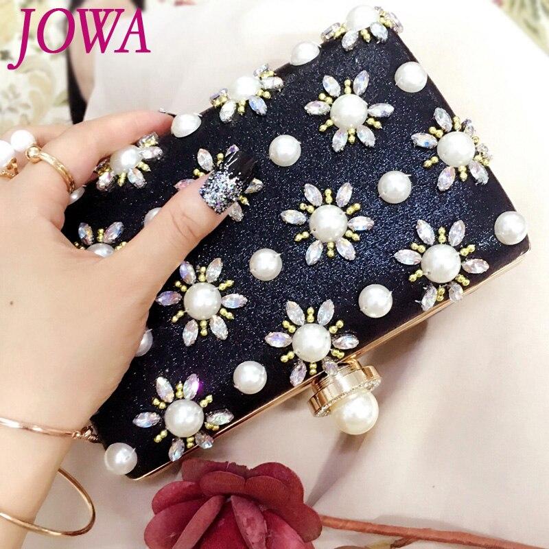 2019 New Design Womens Evening Bags Socialite Pearl Diamonds Handbag Wedding Party Clutch Night Purse Black Mini Chain Package