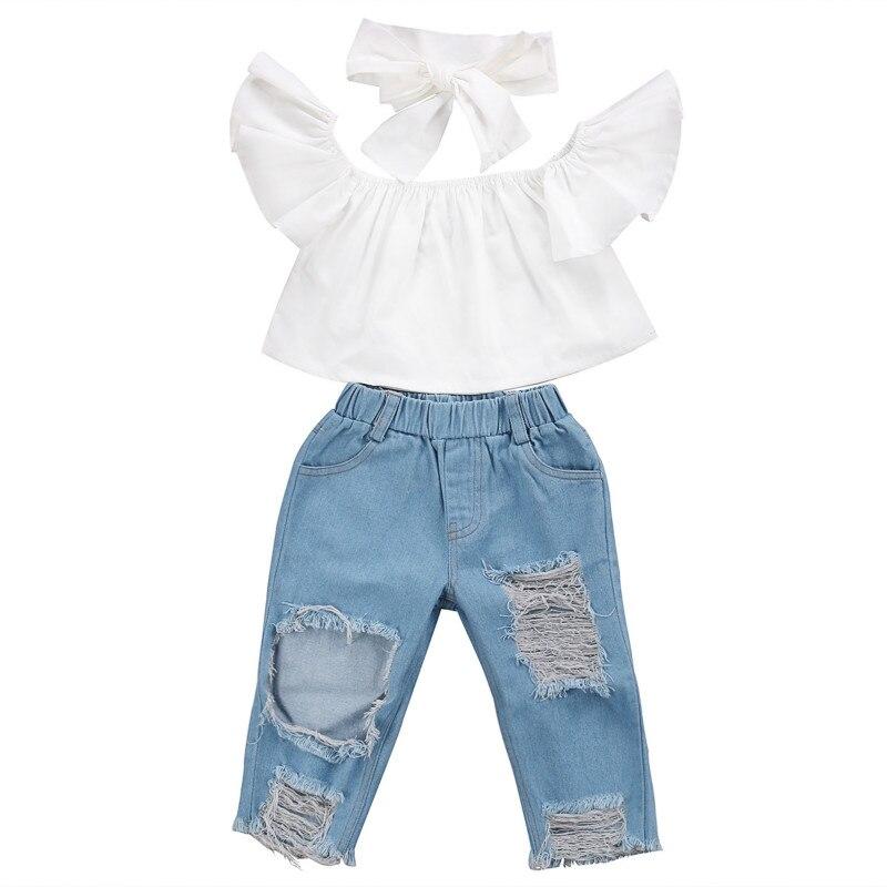 2017 nueva moda Niños Niñas Ropa hombro crop tops blancos + Denim agujero pantalón Jean venda 3 uds niño ropa para niños