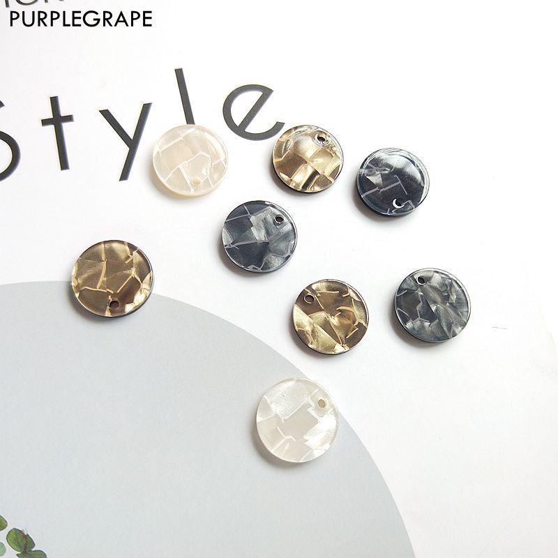 15mm 20 Uds acrílico disco shell gloss diy pendientes joyería Accesorios Materiales moda hecha a mano