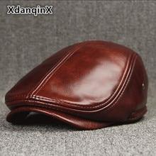 XdanqinX-chapeau dhiver pour hommes   Bérets plus chauds en cuir de vachette avec oreilles, marques de relance, casquette de langue mode homme os de papa