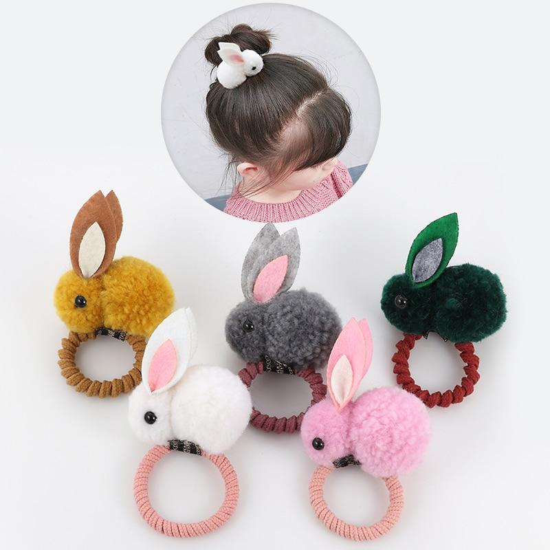 საყვარელი ცხოველის თმის ბეჭედი ბურთით და კურდღლით, ქალის რეზინის ზოლი, ელასტიური თმის ზოლები, კორეული თავსაბურავები, ბავშვების თმის აქსესუარები