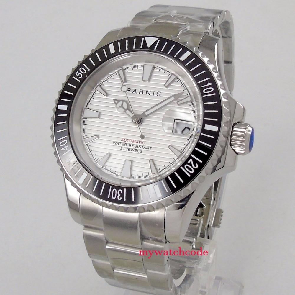 Nuevo Producto, 41mm, Parnis, esfera blanca, zafiro, fecha de despliegue, cierre, miyota 8215, reloj automático ss para hombre