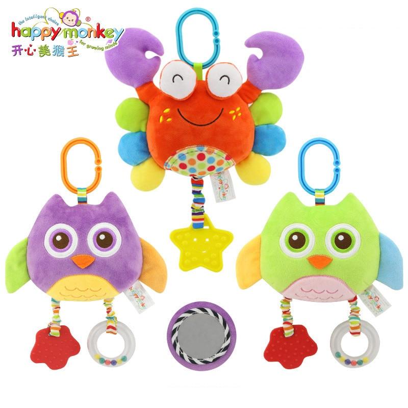 Feliz Macaco de Pelúcia Recheado Acessórios Carrinho De Criança Berço Macio Jogo de Cama Pendurado Brinquedos Do Bebê para Crianças de Segurança Mordedor Chocalho Decoração