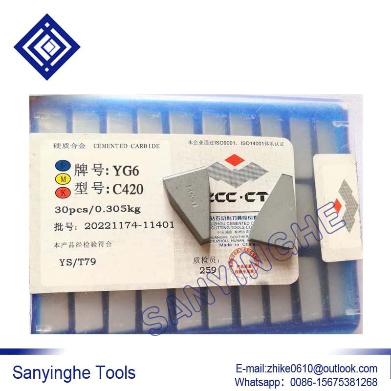 شحن مجاني عالية الجودة 30 قطعة/السلع C420 YG6X YG6 / YG8 / YW1 / YW2 / YT5 / YT14 / YT15 كربيد لحام إدراج صنع من النحاس إدراج