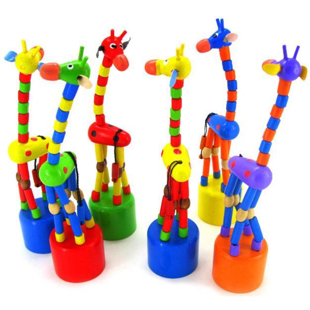 Juguete de inteligencia para niños 2018, soporte de baile, jirafa mecedora colorida, juguetes de madera, juguetes de madera para niños, Dropship