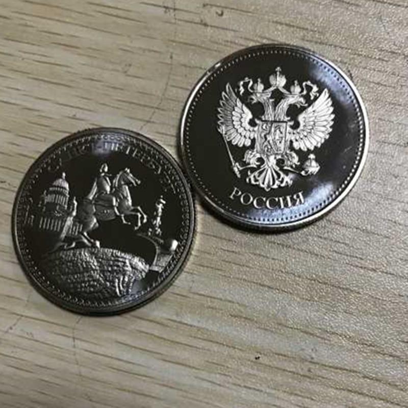 2 uds., moneda de decoración de recuerdo de 40x3mm chapada en plata del héroe ruso Cahkt julius caesar, Rusia