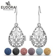 EUDORA 12mm Copper Water Drop Fashion Dangle Earring Lava Stone Beads Earrings Aromatherapy Essential Oil Diffuser Hook Earring