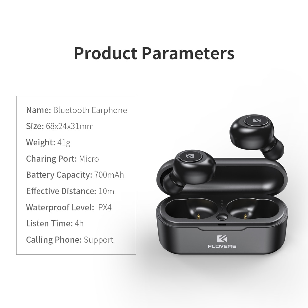 FLOVEME TWS 5.0 Earphones Bluetooth Wireless Sports Headsets with Microphone Stereo Charging Box Key Control Earbuds For Phone enlarge
