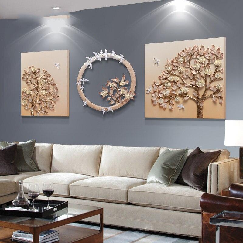 Criativo moderno e minimalista moda tridimensional em relevo pendurado três pintura decorativa sofá fundo pinturas de parede