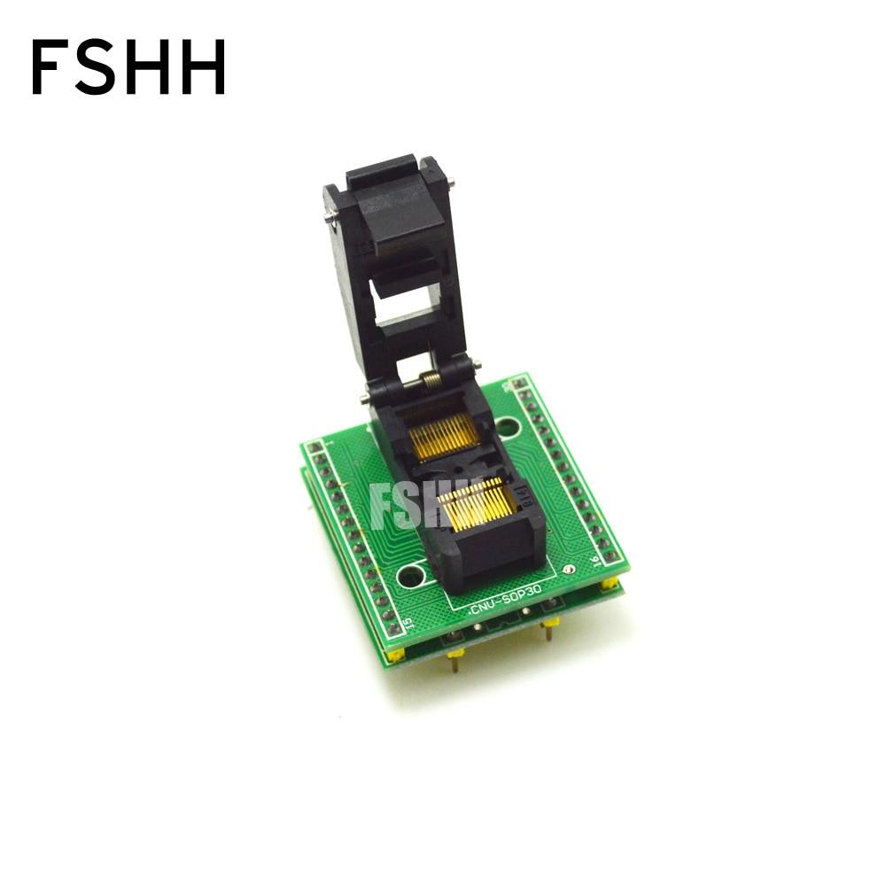 cnv msop 8 adapter msop8 to dip8 ic test socket programmer adapter CNV-SSOP30-DIP SSOP30 to DIP30 programmer adapter TSSOP30 IC Test Socket High quality clamshell Pin pitch=0.65mm