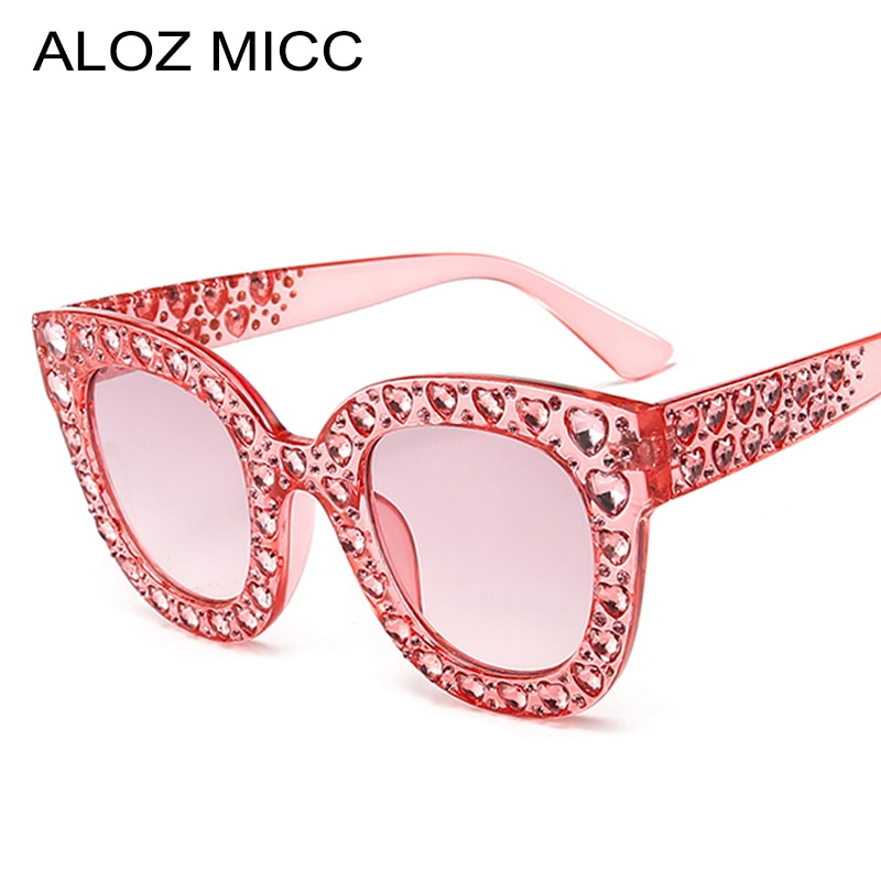 ALOZ MICC New Women Sunglasses Luxury Rhinestone Cat Eye Sunglasses Vintage Oversize Crystal Sun Glasses For Women Eyewear Q603
