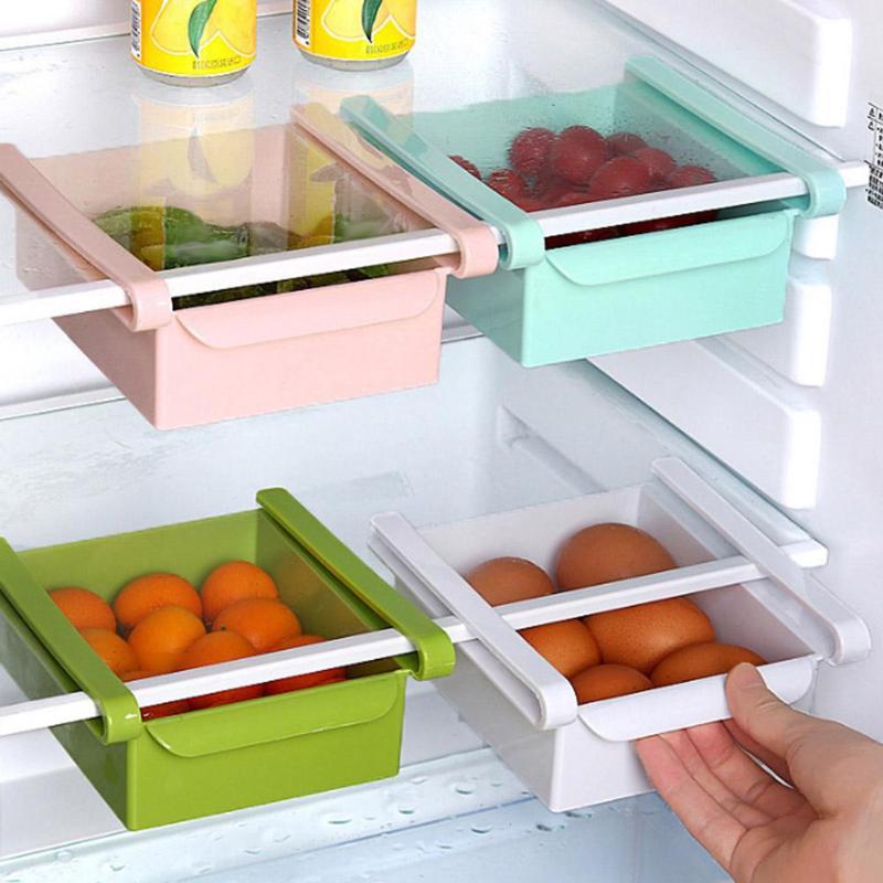 1 ud. Organizador deslizante de cocina PP ahorrador de espacio para refrigerador estante de almacenamiento para congelador estante cajón cocina alimentos mantener herramienta fresca