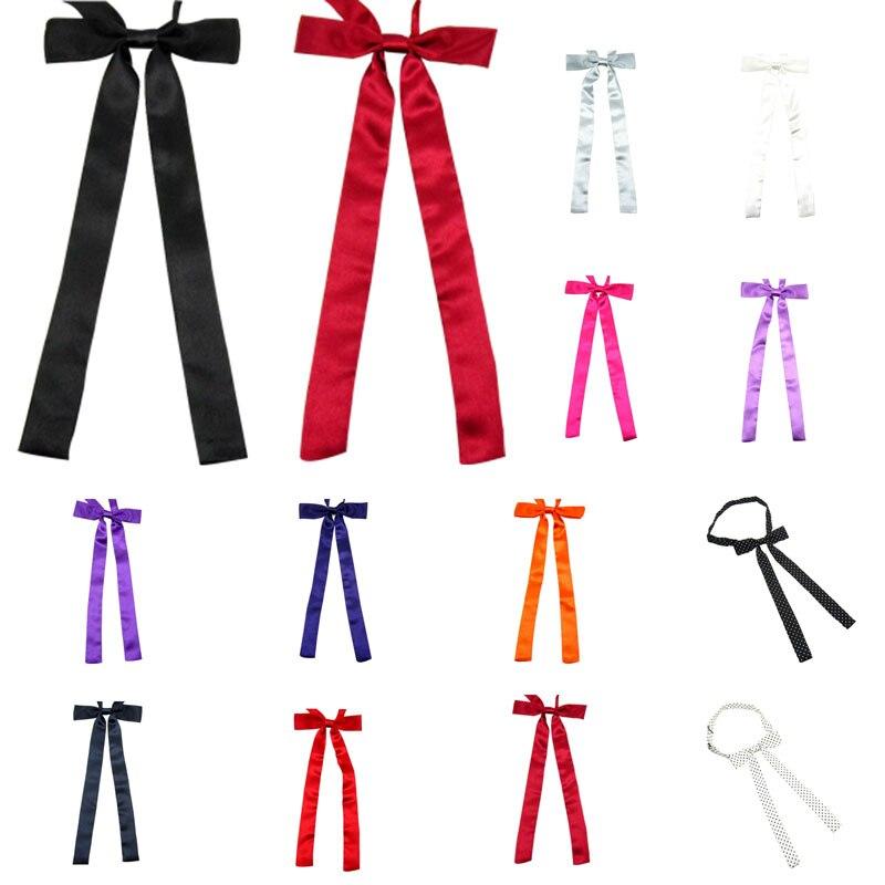 Nova moda feminina meninas bonito festa ajustável laço pescoço gravata varejo simples cetim estudante ponto borboleta