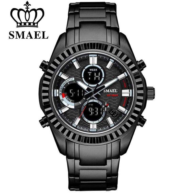 Reloj Masculino SMAEL de lujo para hombre, reloj de pulsera deportivo de moda para hombre, relojes negros de cuarzo, reloj analógico resistente al agua para hombre