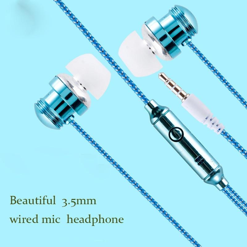 Auriculares de galvanoplastia de 3,5mm Cable de audio estéreo auriculares estéreo de música para teléfono móvil auriculares universales con cable en la oreja con micrófono