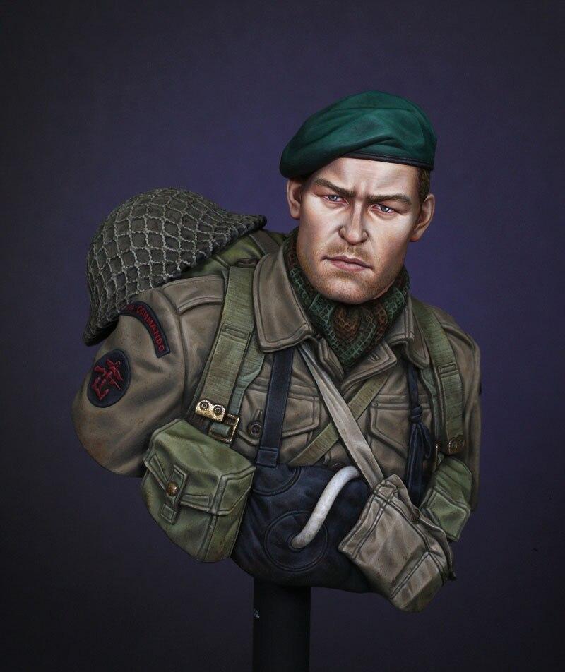 Ensamblaje sin pintar escala 1/10 antiguo Comando en el día D busto soldado figura de resina modelo histórico