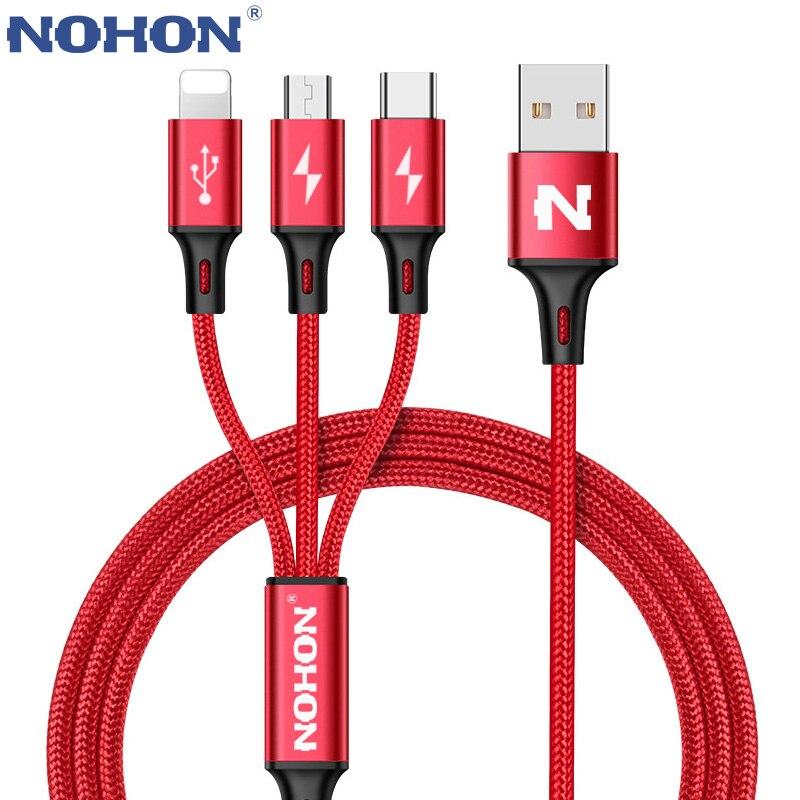 NOHON 3 в 1 8Pin Type C Micro нейлоновый USB кабель для iPhone 8X7 6 6S Plus iOS 10 9 8 Samsung Nokia USB кабель для быстрой зарядки
