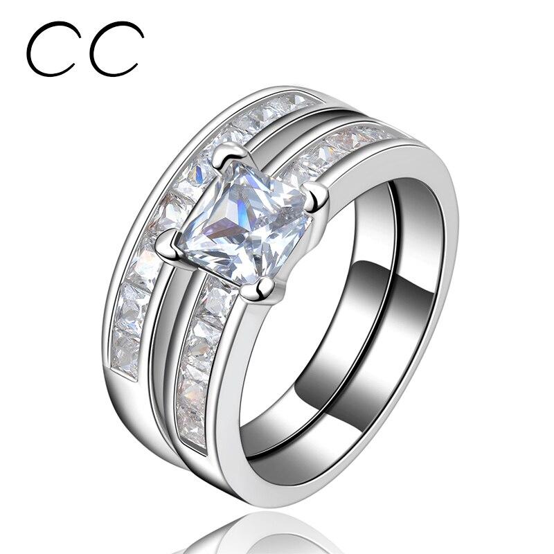 Conjunto de anillos de boda 2 uds AAA anillos de circonia cúbica para mujeres color blanco dorado conjunto de anillos Phalanx accesorios de moda CC129