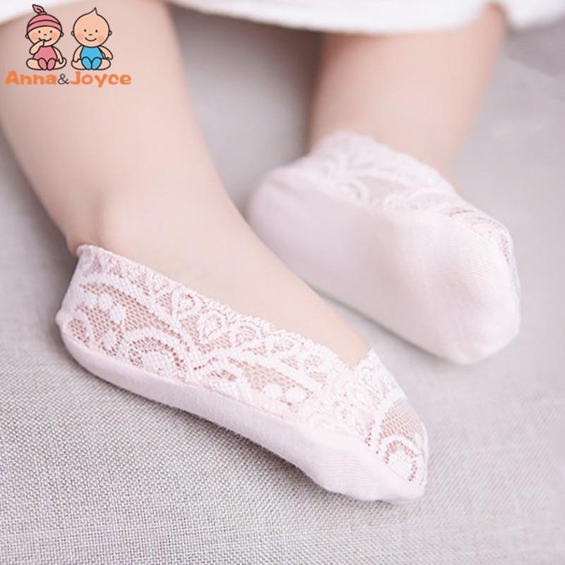 5 par/lote de calcetines de encaje para niñas, boca baja Invisible, sin marcas, elástico, bote, Focks pies, deslizamiento de silicona