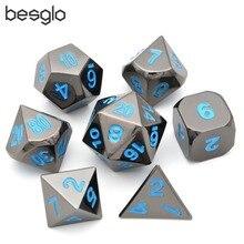 Metal Dice Set van 7 Zwart Polyhedrale Dobbelstenen met Blauwe Belettering voor RPG MTG Wiskunde Onderwijs D4 D6 D8 D10 D % D12 D20