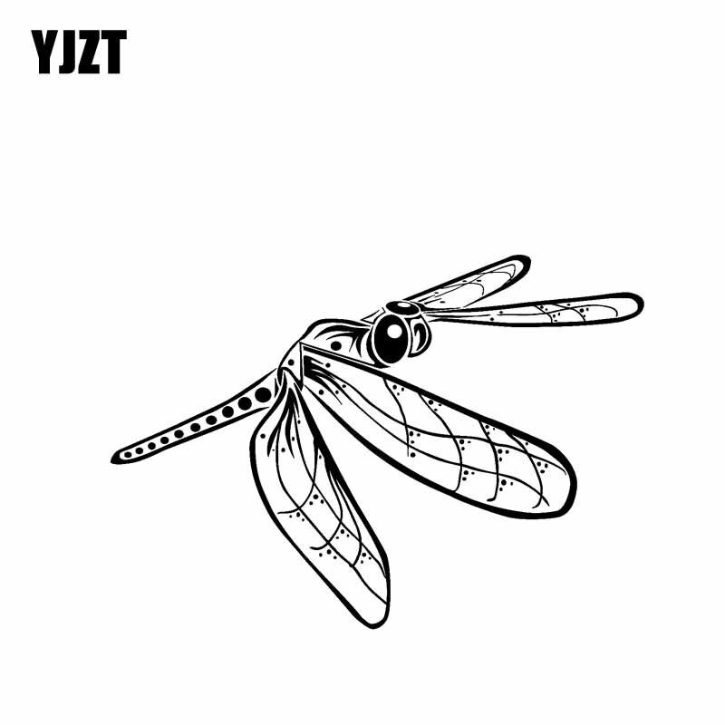 YJZT 18CM * 12,5 CM libélula hermosa pegatina de vinilo Nifty coche pegatina artística negro/plata C19-0663