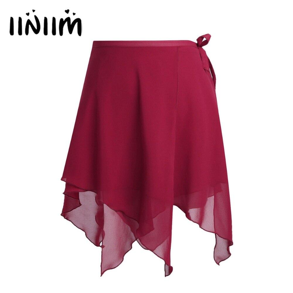 Женская ассиметричная юбка-пачка, профессиональная шифоновая балетная Одежда для танцев, балетная обертка, юбка для танцев, шарф с поясом