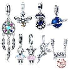 MYBEBOA 925 breloques en argent Sterling pour Bracelets Pandora originaux colliers Secret planète lune étoile pendentif bleu Ename bijoux