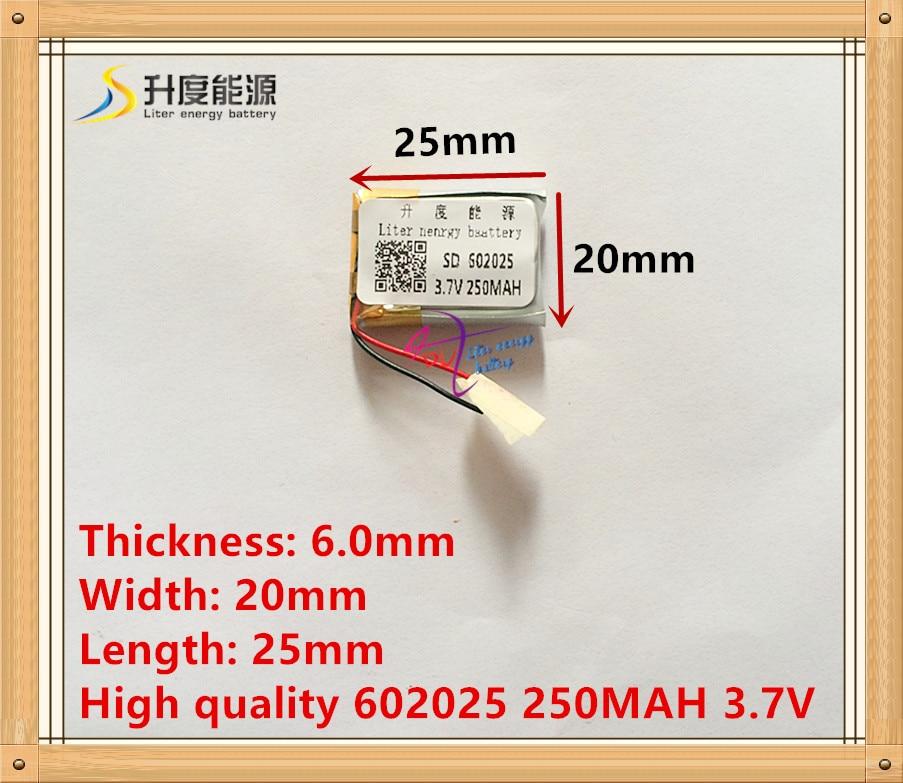3.7V bateria de polímero de lítio 602025 062025 MP3 Bluetooth 250MAH gravador de presente DIY