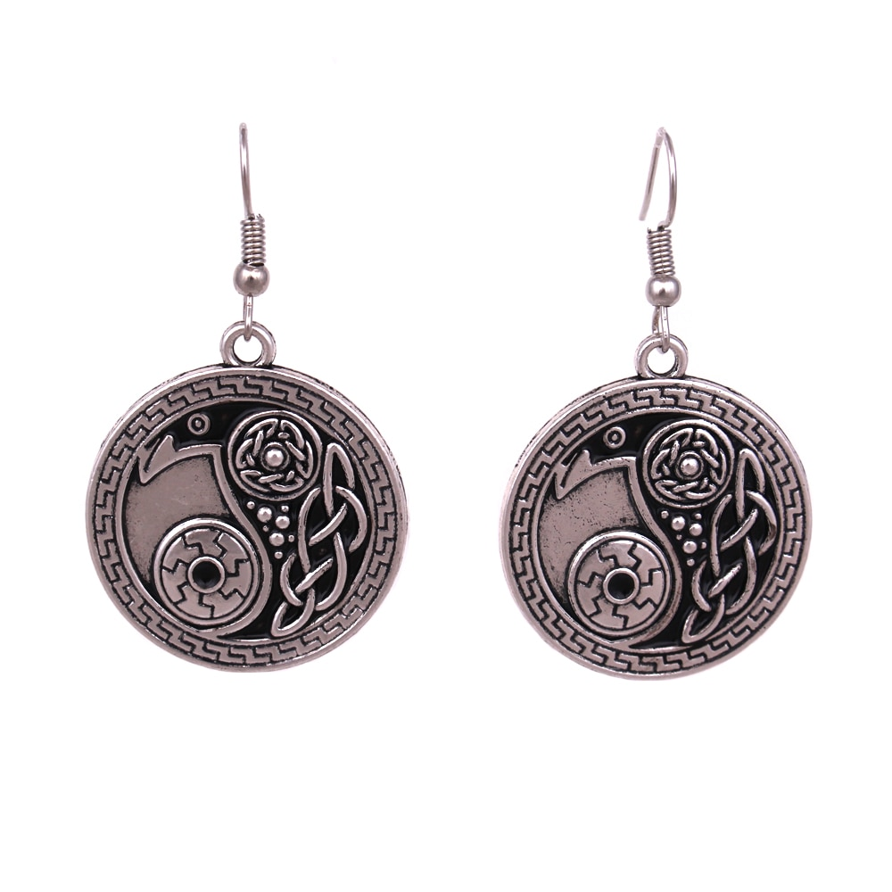 Norse Viking Brinco Corvo Corvo Yin Yang amuleto Jóias