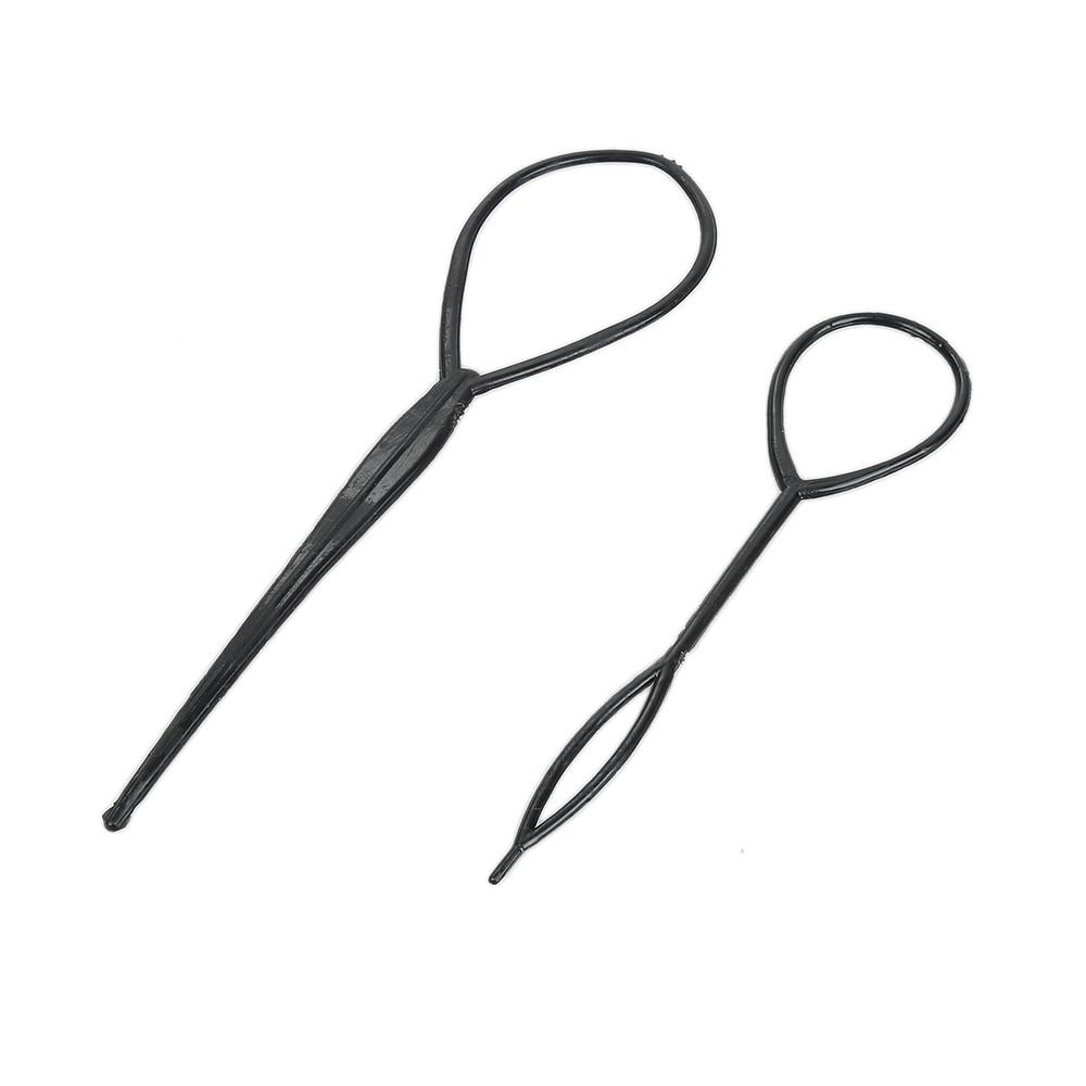 Популярные 1 пара, 2 шт., оплетка для волос, пластиковый конский хвостик, инструменты для укладки, черный топичный конский хвостик, инструмент для укладки