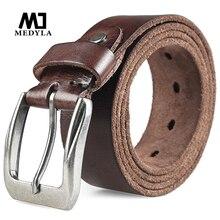 MEDYLA, cinturones de cuero de capa superior para hombre, cinturón informal de alta calidad, diseño Vintage, hebilla de Pin, cinturones de cuero genuino para hombres, cuero de vaca Original