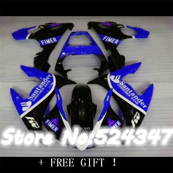 Inyección azul blanco negro caliente para YZFR6 03-05 YZF600 03 05 04 2004 YZF R6 R 6 YZF-R6 YZF-600 2003 2005 carenado completo