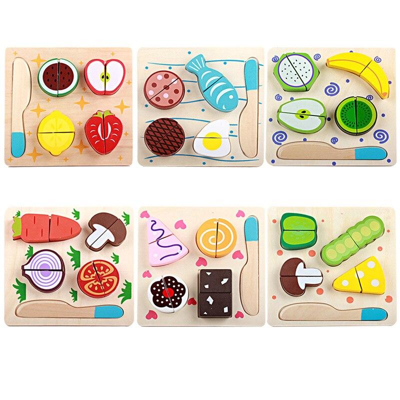 Enfants en bois coupe fruits légumes dessert puzzle cuisine jouets enfants semblant jouer cuisine jouet éducatif pour les filles garçons