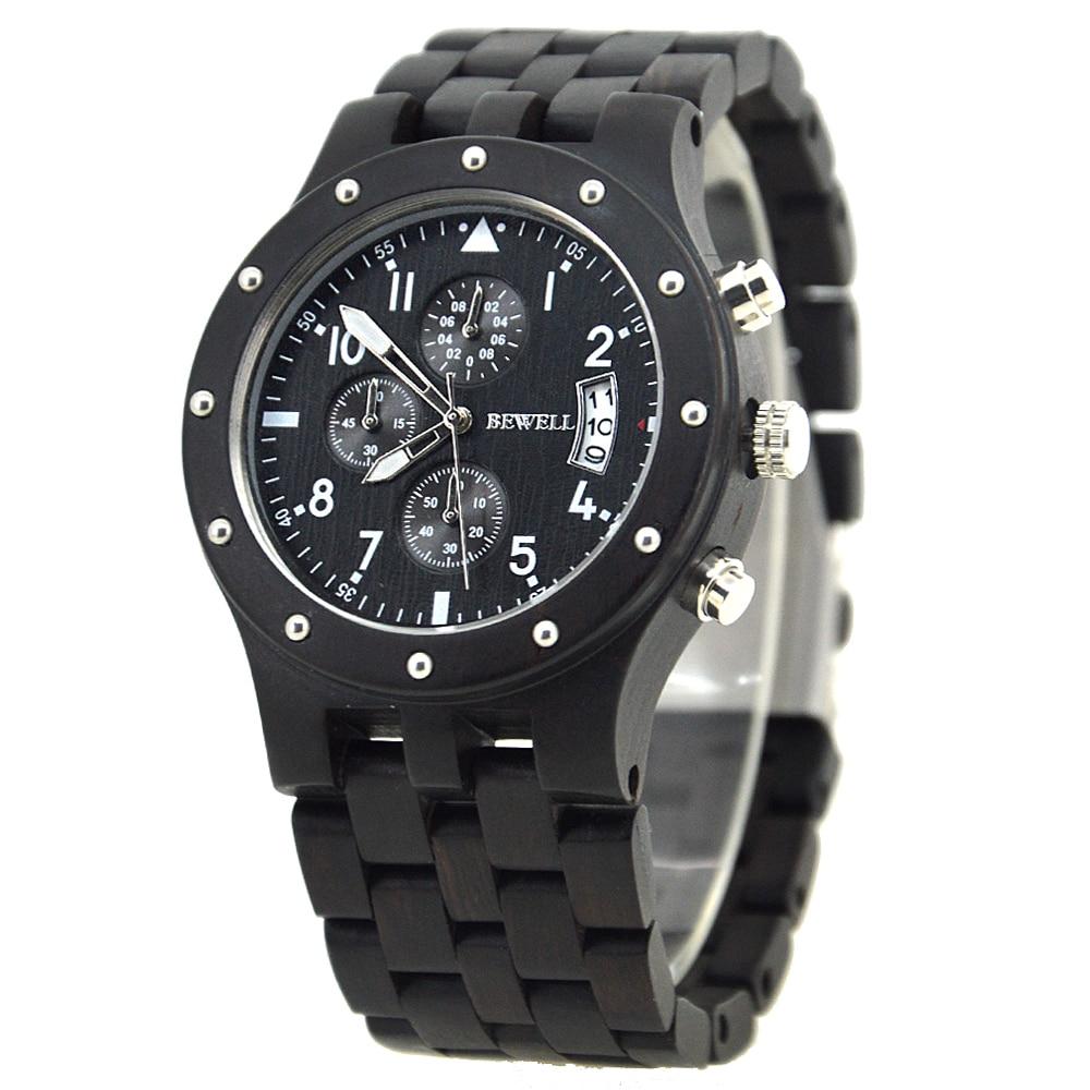 BEWELL Лидирующий бренд, мужские часы с автоматическим датом, деревянные часы, мужские часы с секундомером и светящимися стрелками, аналоговые...