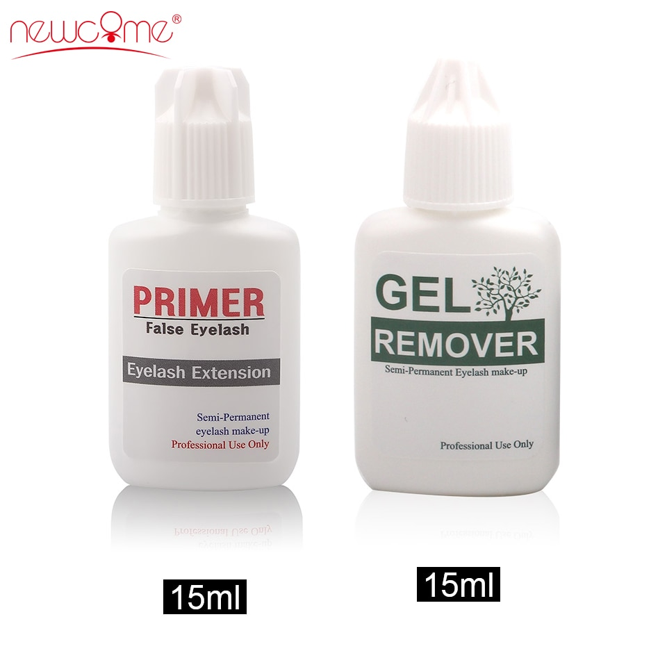 NEWCOME Remover&Primer Eyelash Extension Clear Gel Lashes Safty Adhesive Eye Lashes Korea Remover for Makeup Professional 15ML недорого