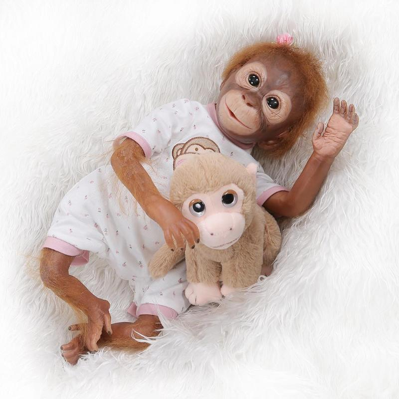 Kids Simulation Monkey Doll Toy Newborn Baby Lifelike Animals Doll Play Toys Inafnt Sleeping Playmate Children photography Prop