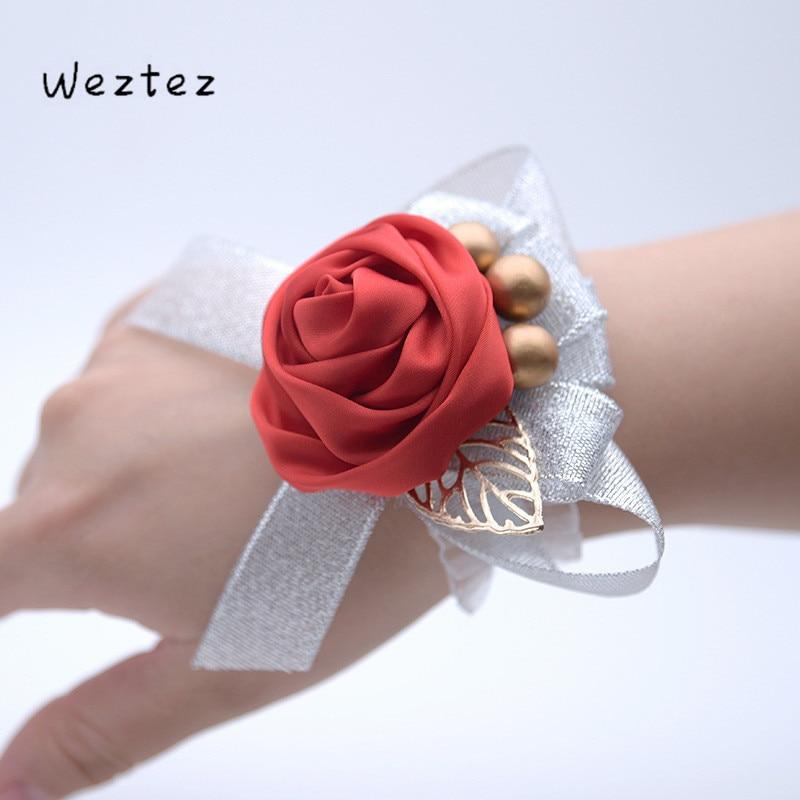 Bridal Wrist Flower Handmade Rose Wrist Flowers For Bridesmaid Wrist Corsage Band Wedding Accessories 727