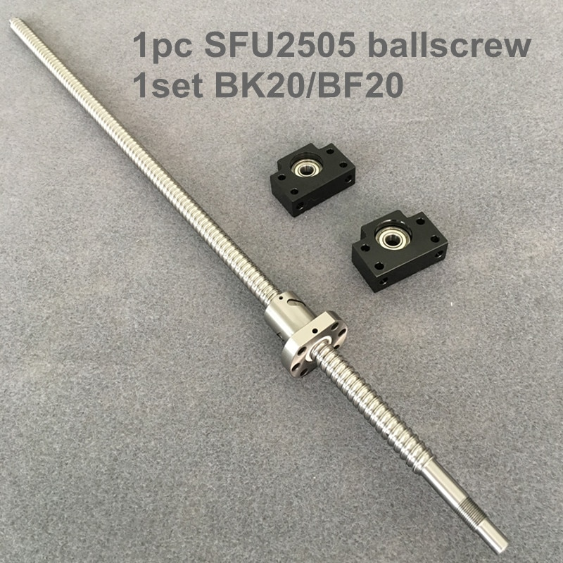 SFU/RM 2505 husillo de bolas 1100, 1200 de 1500mm con extremo mecanizado + Ballnut + BK/BF20 final de apoyo CNC partes