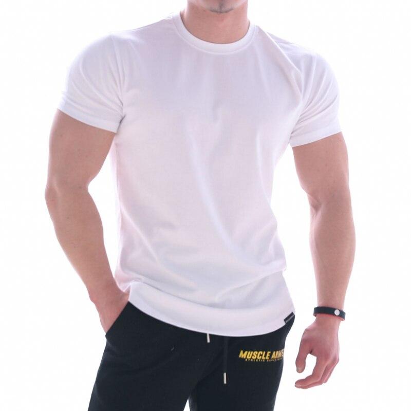 Camiseta de algodón para hombre, camiseta de manga corta, cuello redondo, ajustada, Color sólido, Media manga, camiseta 2019 BRZK