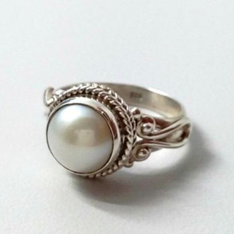 Anillo de perlas Vintage, anillos de plata de diseño de colores antiguos para mujer, anillo de compromiso de boda de lujo, joyería Bague Femme Anel Z3T594