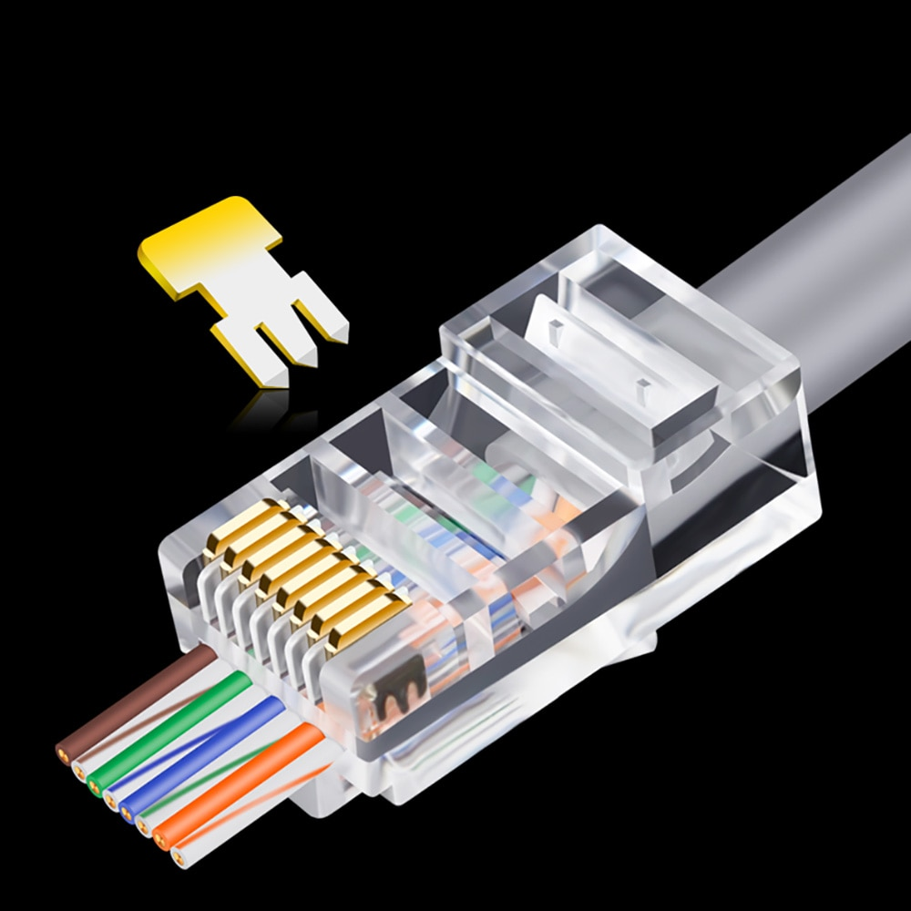 OULLX 20/50/100pcs RJ45 Connector 6U Gold PlatedPass Through Ethernet Cables Module Plug Network RJ-45 Crystal Heads Cat5 Cat5e