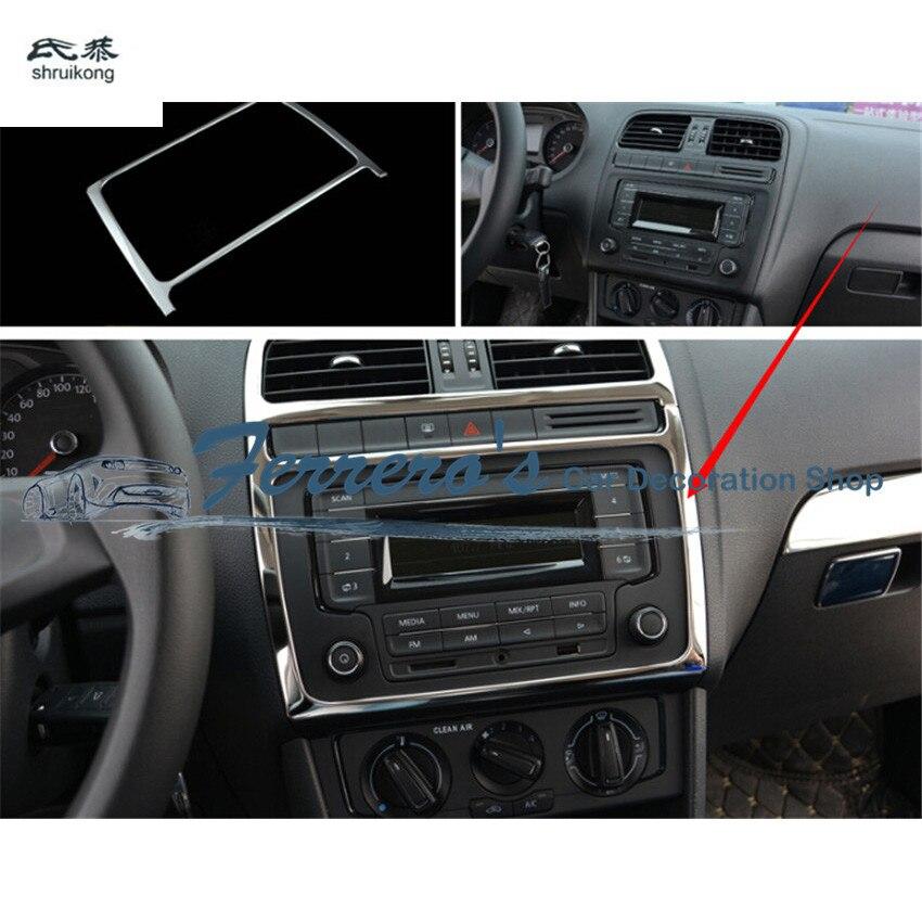 Pegatinas para coche, cubierta de panel de instrumentos de consola central de acero inoxidable, decoración de lentejuelas para Volkswagen VW POLO 6R 6C 2011-2017, 1 unidad