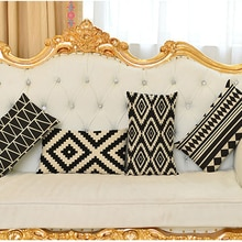 Coussin décoratif coussin housse noir et blanc géométrique lombaire oreiller Rectangle décor à la maison