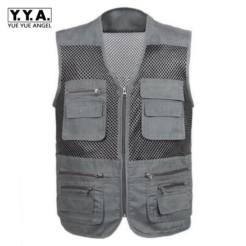 Top Fashion Mens Sleeveless Jacket Fisherman Waistcoat New Male Summer Mesh Vest Coat Tank Top Plus Size 4XL Free Shipping